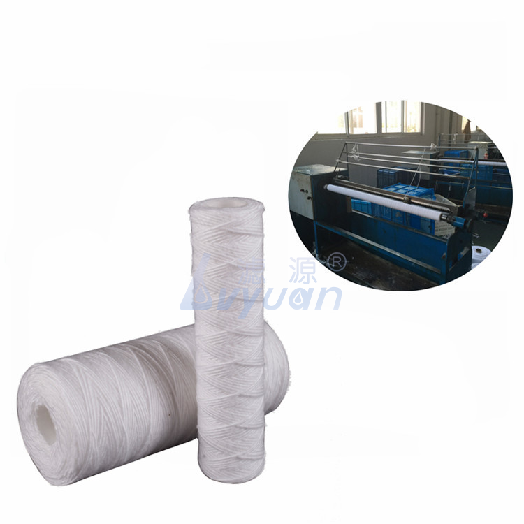 Big blue & slim housing 1 micron string wound pp sediment filter with PP core