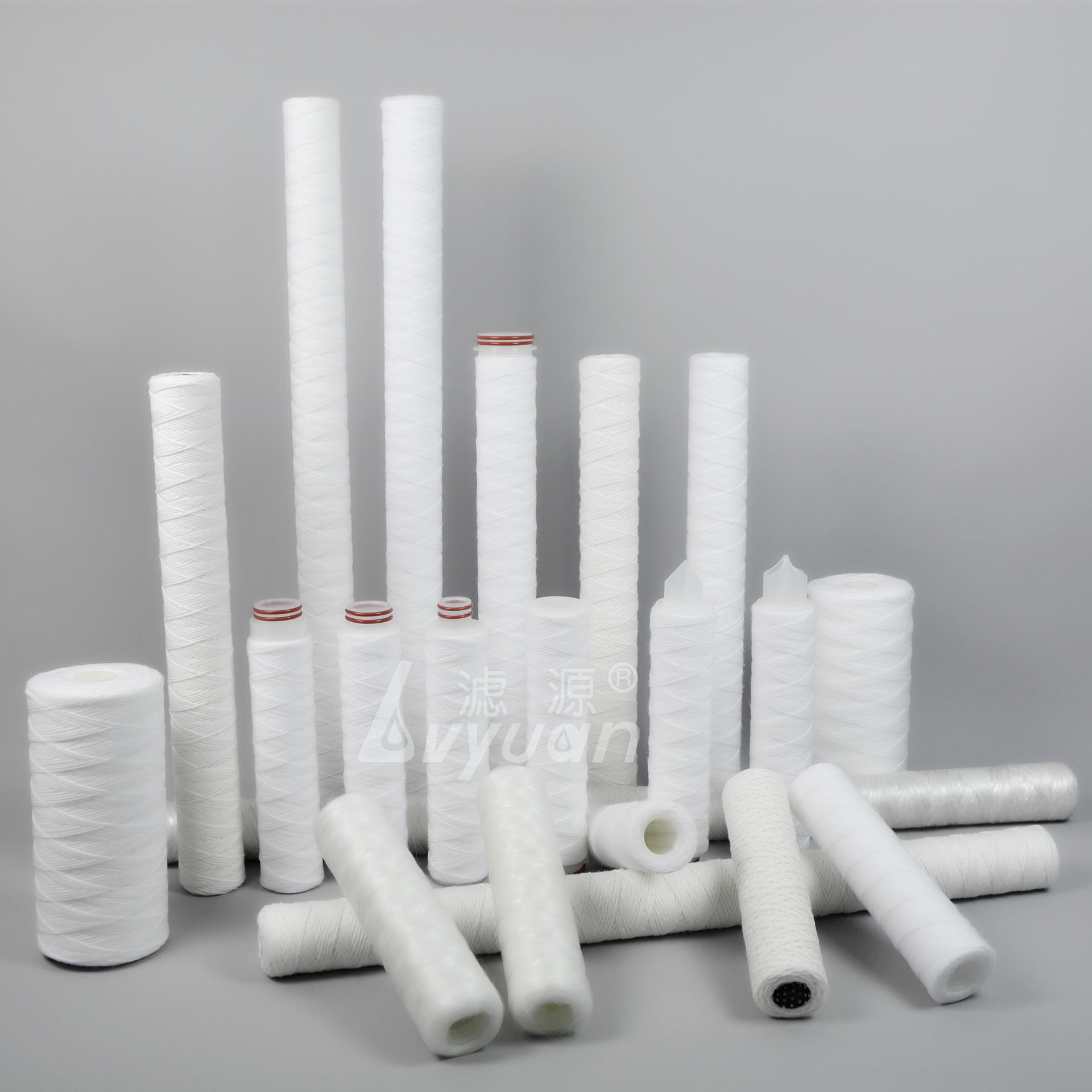 10 20 30 40 inch 50 micron spiral sediment fiberglass string wound Filter Cartridge for industrial water filtration