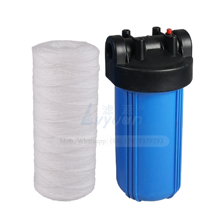 Pre water sediment yarn filter 10 inch 25 micron string wound filter cartridge for 4.5 inch jumbo blue PP filter housing