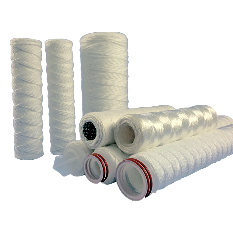 Stainless steel core polypropylene/cotton/fiber glass 1/5/10 microns string wound sediment filter for water liquid filter