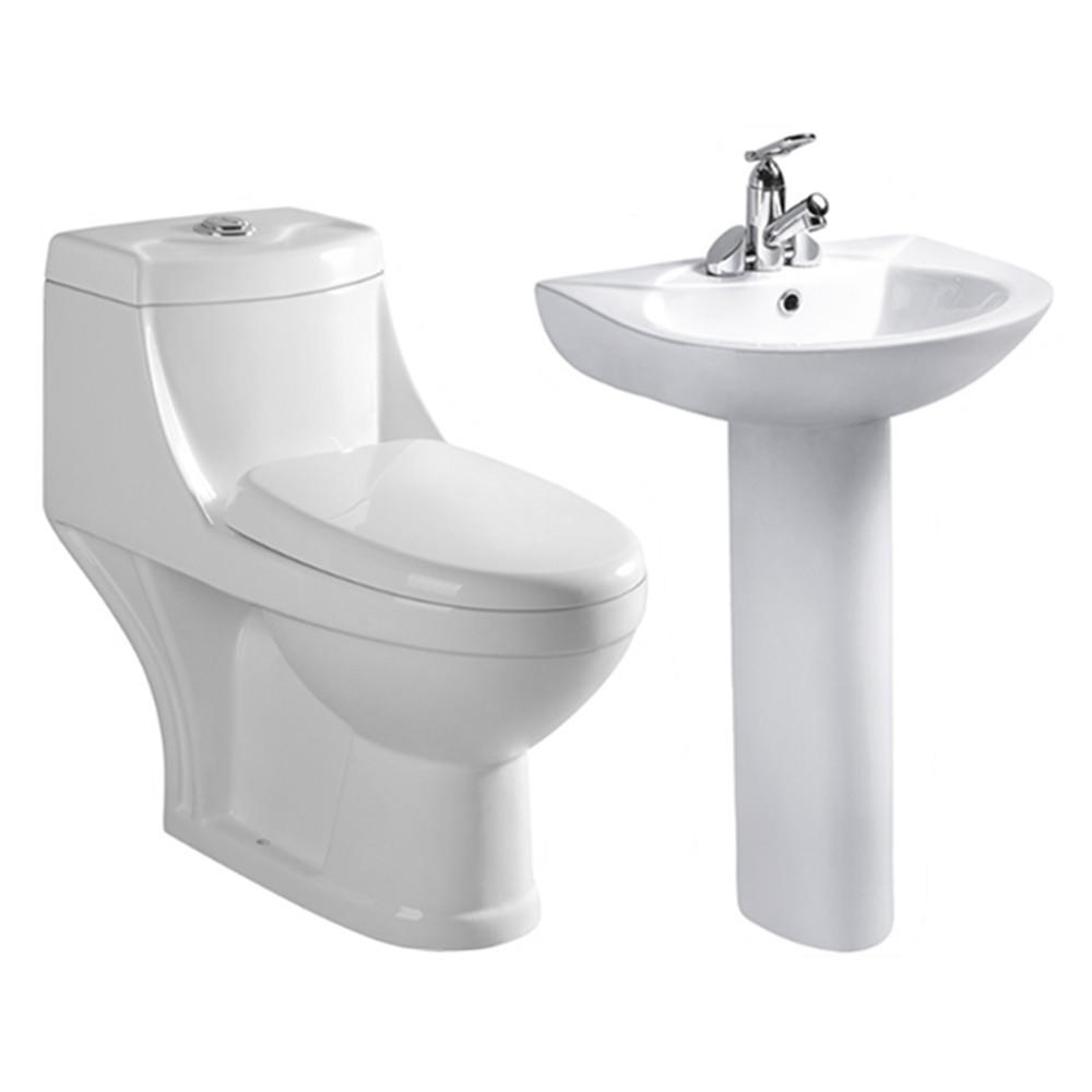 Modern western brand bathroom one piece wc toilet bowl with sink