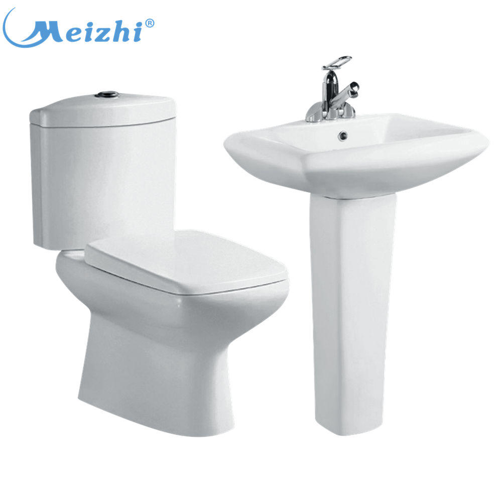 Bathroom set two piece water closet with basin