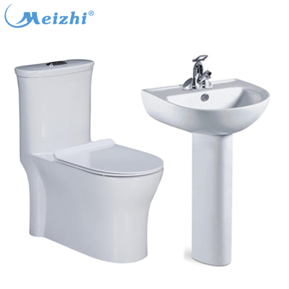 Sanitary ware factory ceramic one piece toilet wash basin with pedestal