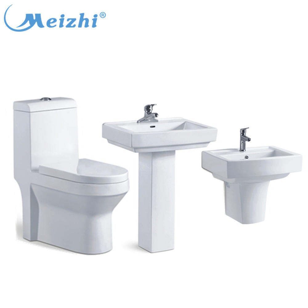 Chinese supplier bathroom toilet and pedestal basin combo