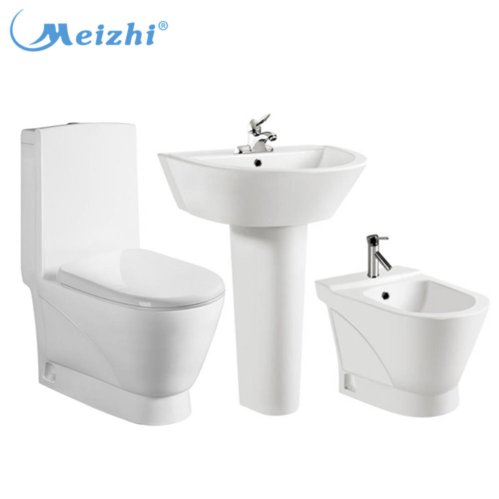 Big outlet 4inch wash down one piece toilet and basin bidet set