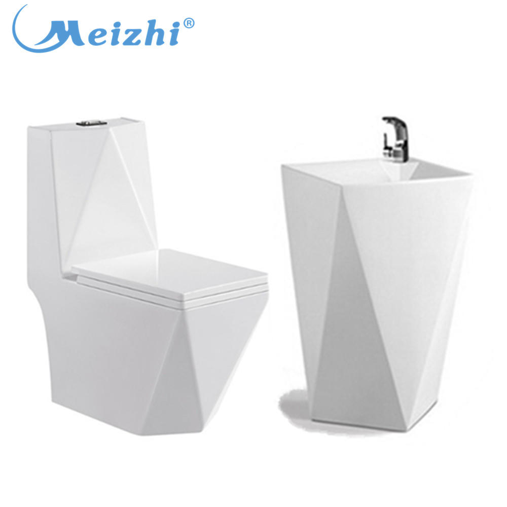 Diamond ceramic toilet one piece pedestal basin