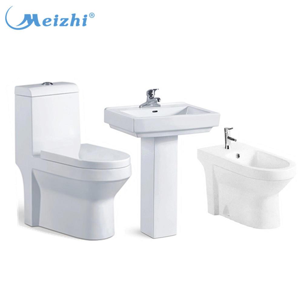 Pedestal wash basin one piece toilet and bidet combine set
