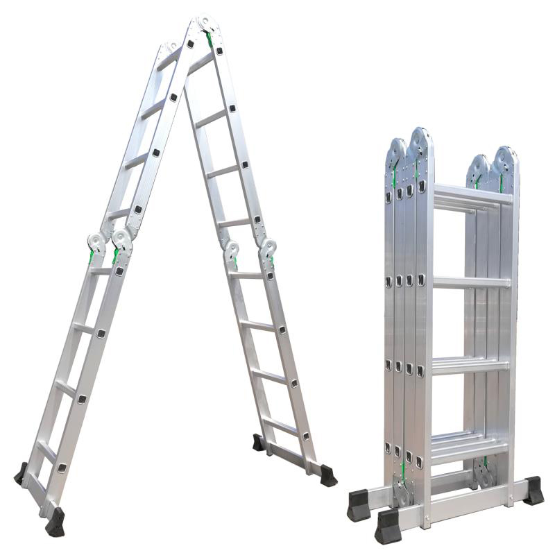 Big step aluminium stool ladder with large front feet and grip
