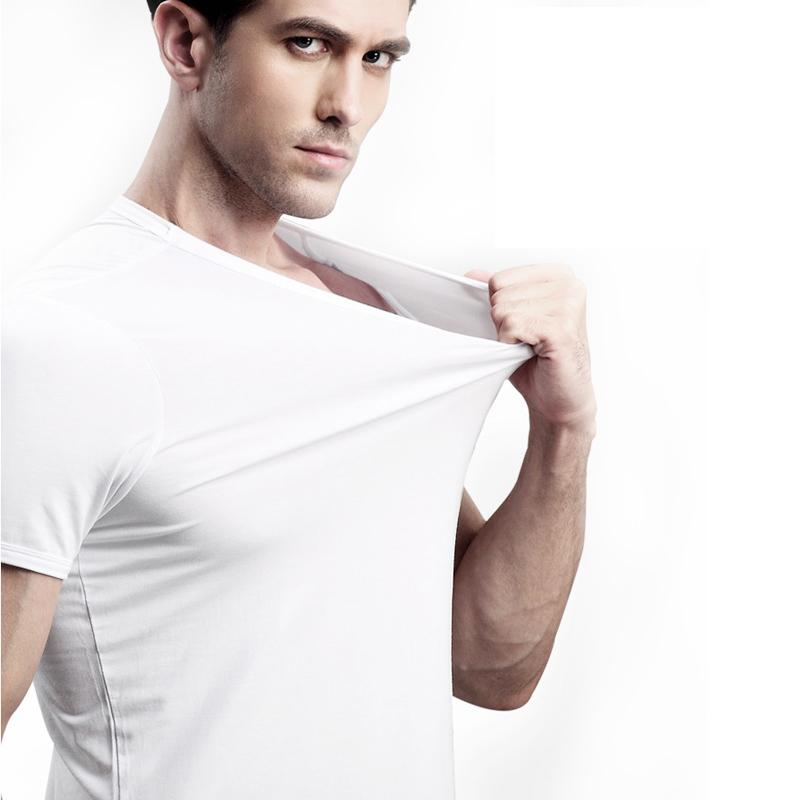 white 100% bamboo cotton fabric stretch blend t-shirt woman