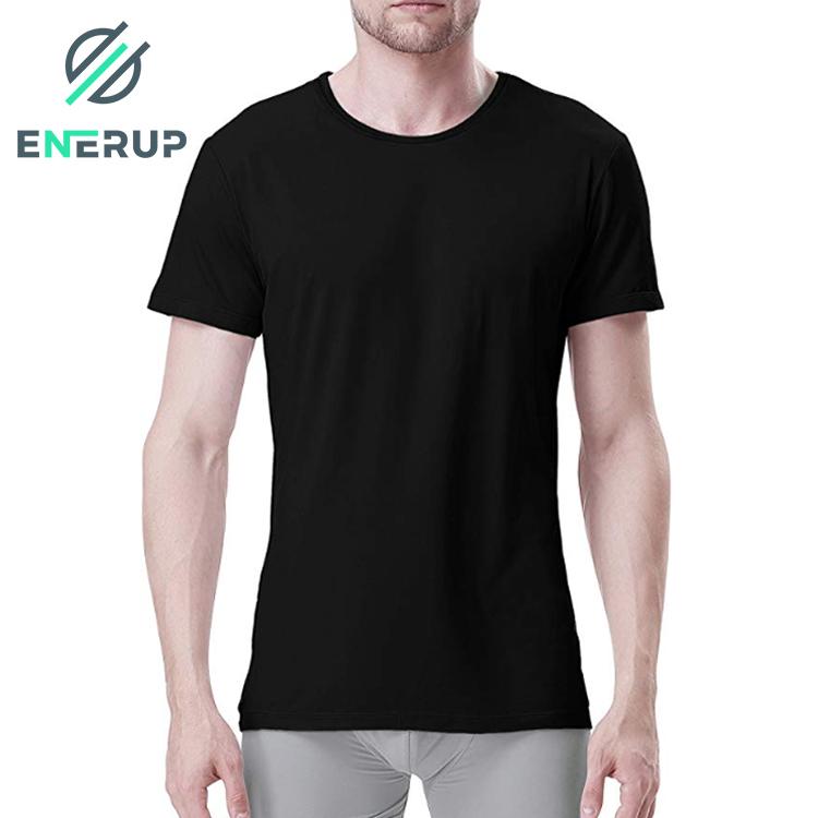 Enerup Custom Soft Comfy Lenzing Micro Modal Undershirts Breathable Crew Neck Slim Fit Tees Short Sleeve White T Shirt Men