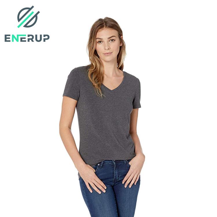 Enerup Fibra De Bambu Camisa Bamboo Cotton Spandex Organic Fabric Classic-Fit Short-Sleeve V-Neck Women T-Shirt