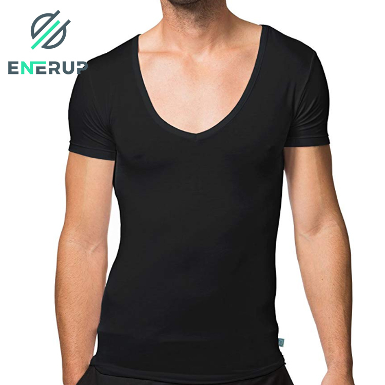 Enerup Invisible Organic Bamboo Cotton Fabric Deep V-Neck Undershirts Short Sleeve Blank Gym Compression T Shirt