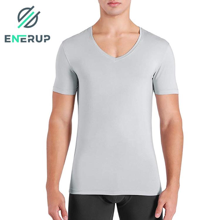 Enerup Wholesale Custom Soft Comfy Organic Bamboo Cotton Blend Fiber Short Sleeve Undershirts V-Neck Mens T-shirt