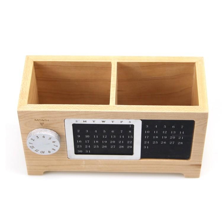 Vitalucks VL-PH01 beech 17X7.2X9.6cm wooden pen holder with calendar