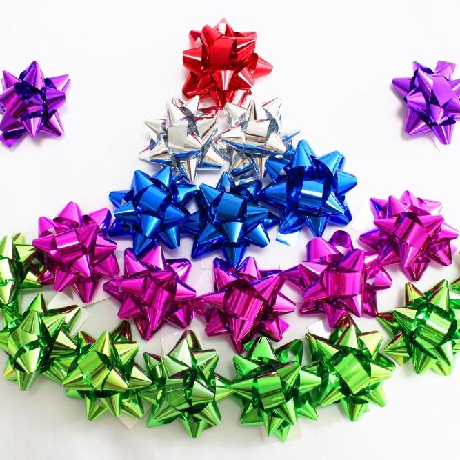Fashion LACQUERED RIBBON aluminum ribbon star bows for christmas gift