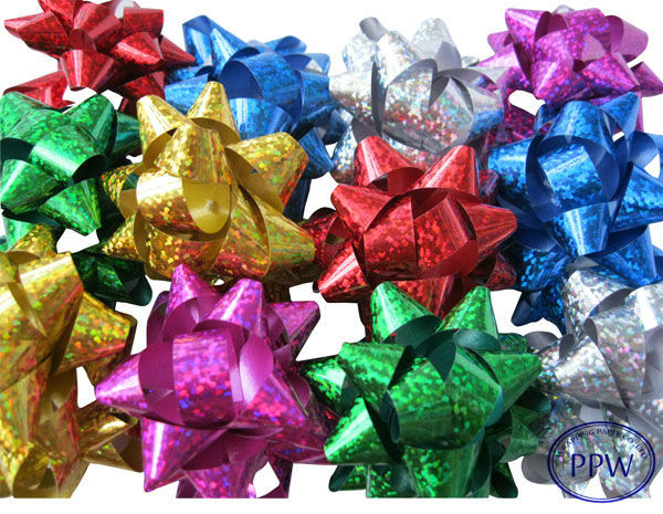Hot Sale Colourful Decorative party wedding gift card disposable fabric ribbon star bow