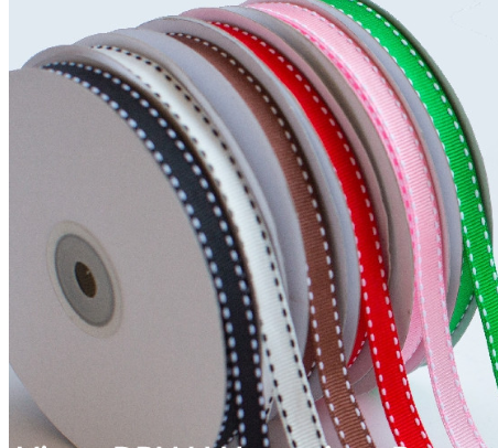 Custom grosgrain ribbon saddle stitched ribbon for gift wrapping