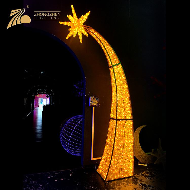 Professional Factory Custom Made Giant Project Star Arch 3D LED Motif Christmas Lighting