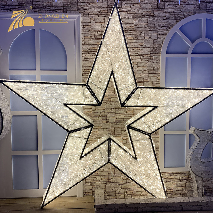 Environmental Protection Weeding Party Garden Mall 3D Star Motif LED Decoration Light