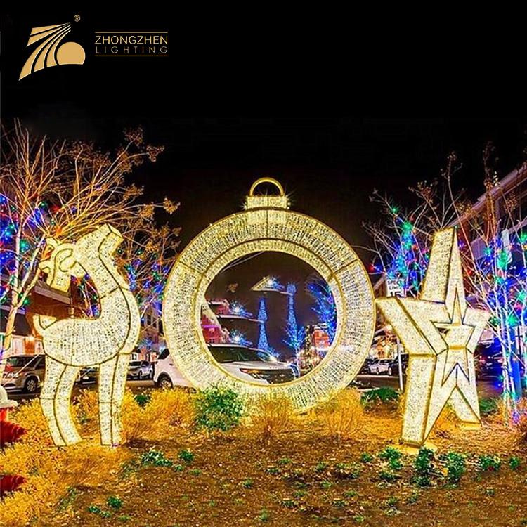 Professional Quality Warm White Reindeer Star Decoration Ornaments 3D LED Motif Light