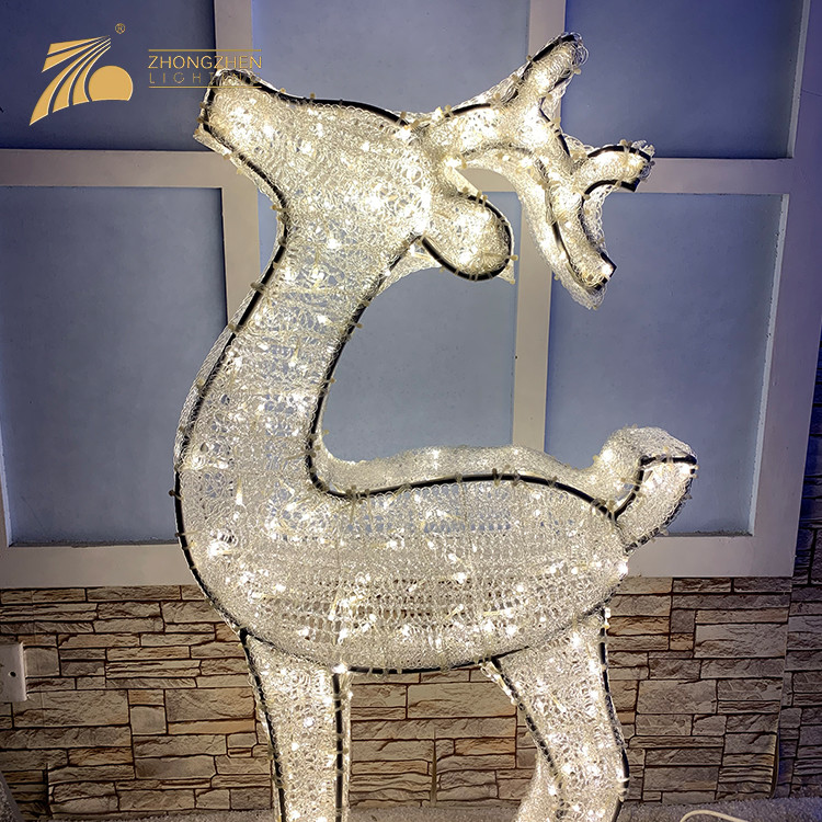 Low Power Consumption 3D Reindeer Motif Fixtures For Mall Party Holiday Decoration LED Light