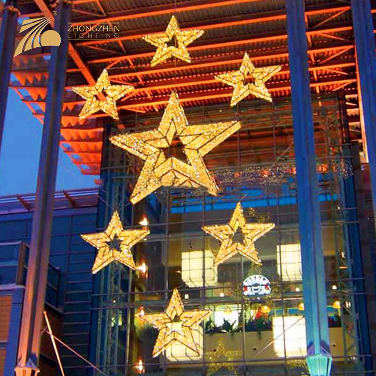 Wholesale Price Shopping Mall Star Shape 3D Motif Decorations Light