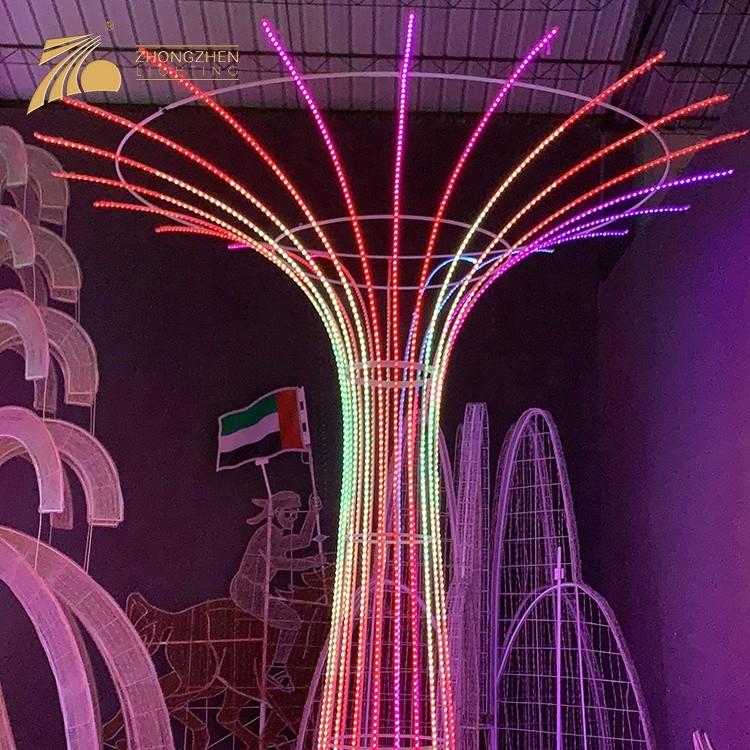 Professional Quality Custom Festival Christmas Decoration Giant 3D LED Fountain Motif Light