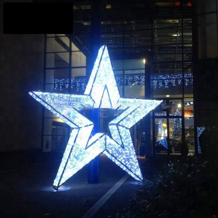 Commercial Outdoor Decoration 3D Christmas Motif Star Lighting