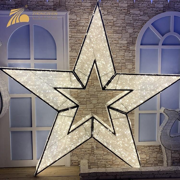 Low Power Consumption Custom Made Decoration Christmas Light 3D Star LED Motif