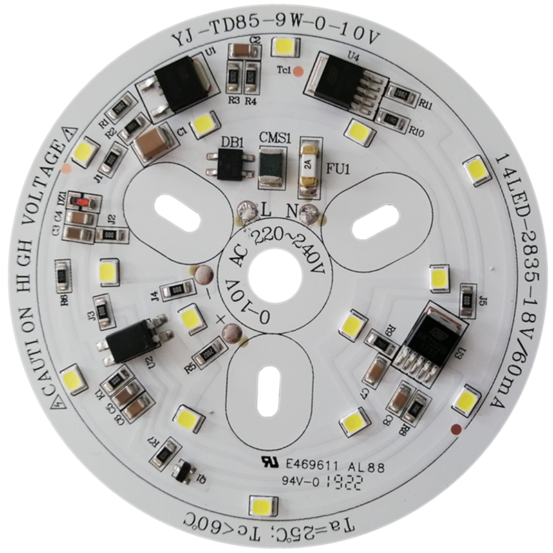 CE & LVD & FCC certificated 0-10V dimmable 9W driverless 220V dob ac led pcb module led board for Bulb Light and Downlight