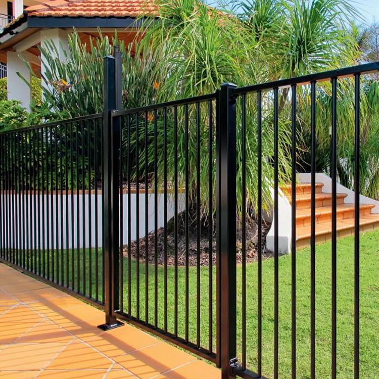 Security black aluminum flat top pool fence