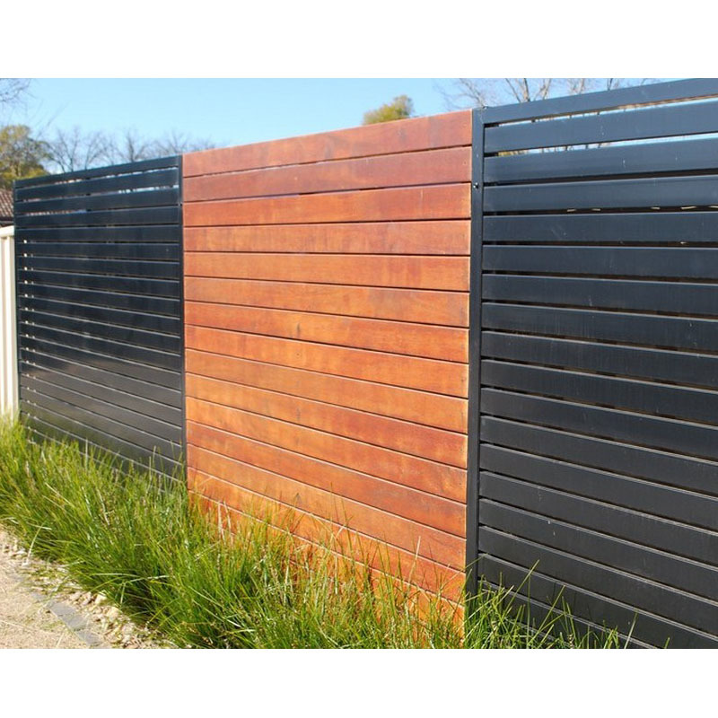 Fashional powder coated and wood grain aluminum slat fencing aluminum louver fence