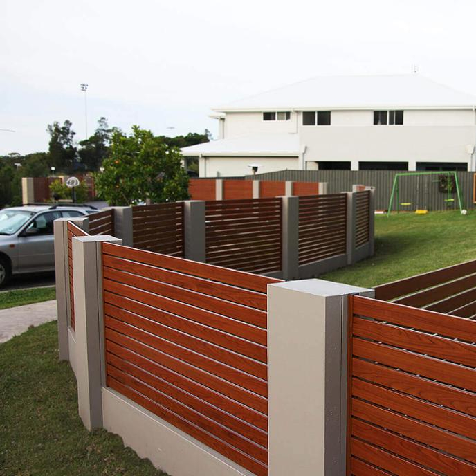 Timber look residential aluminiumprivacy fencing