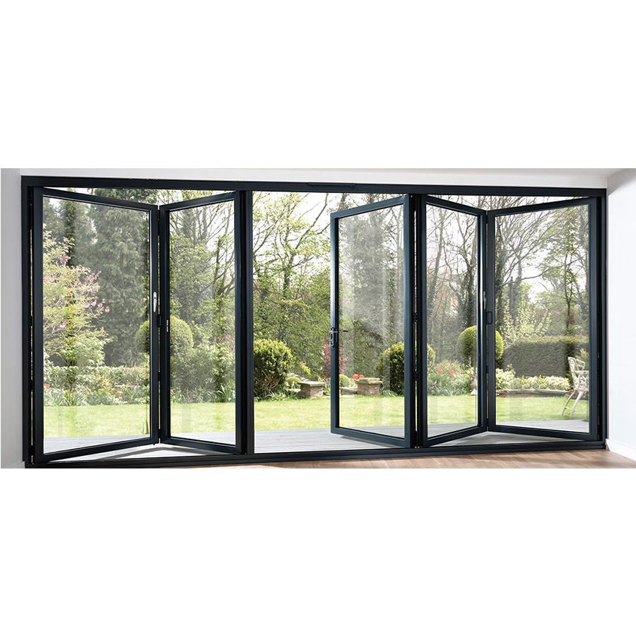 Residential balcony aluminium folding door with standard glass