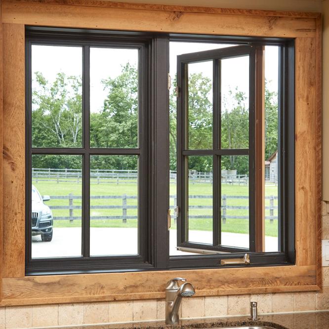 Wood grain aluminiumdouble glasscasement window