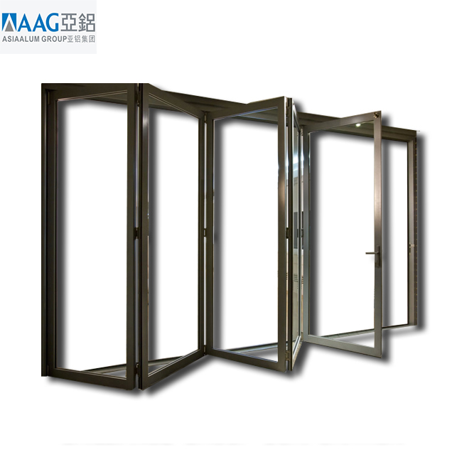 Aluminium folding door patio with exterior folding door