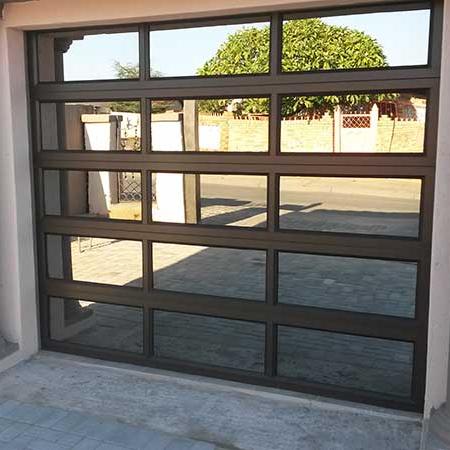 Electric powder coated aluminum frame glass screen panels garage door