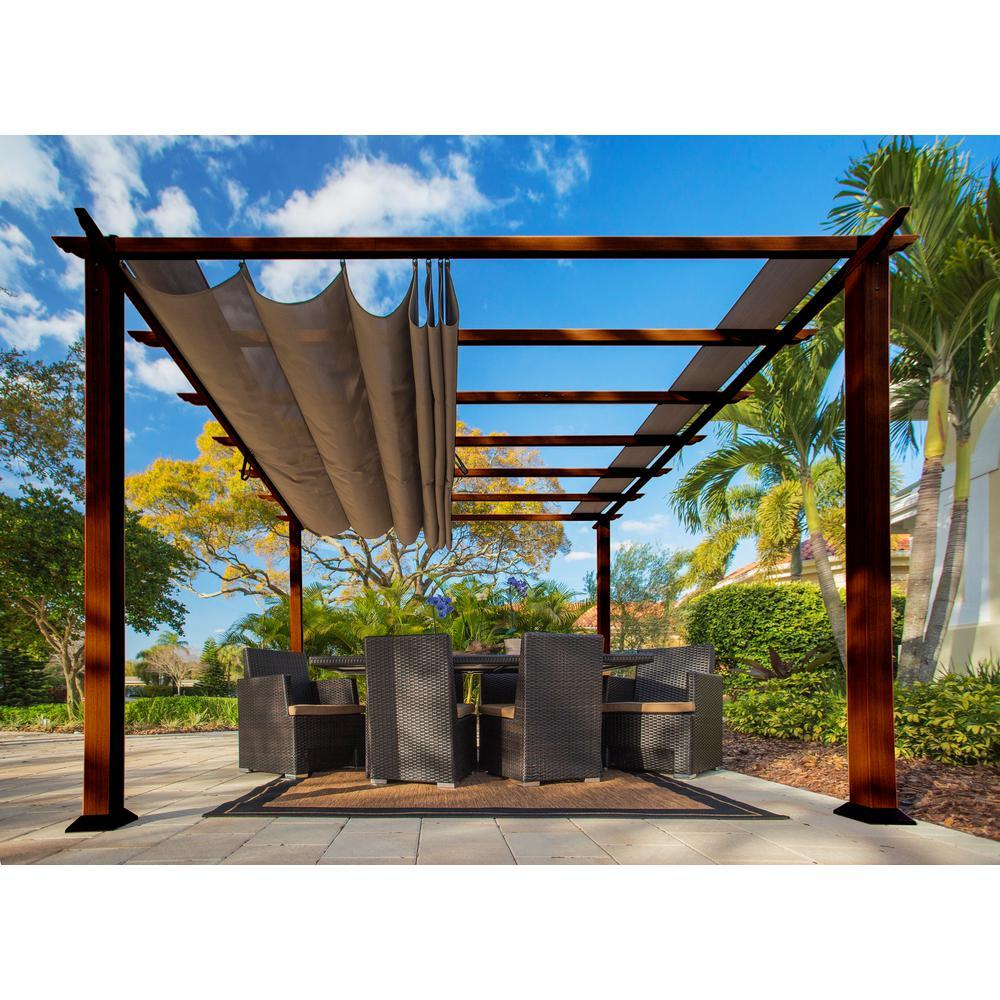 Aluminum pergola motorized opening roof with adjustable blade
