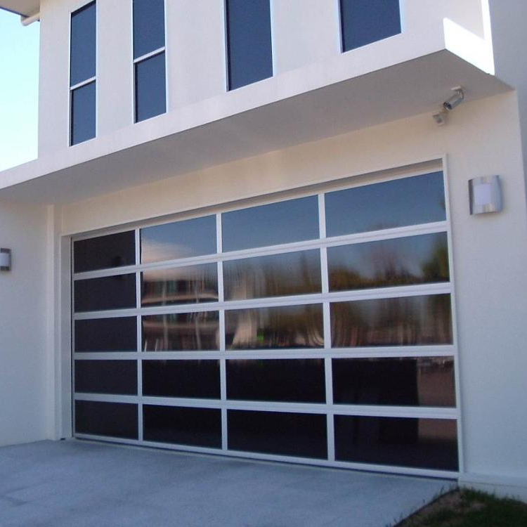 Full view modern anodized aluminumtempered glass garage door