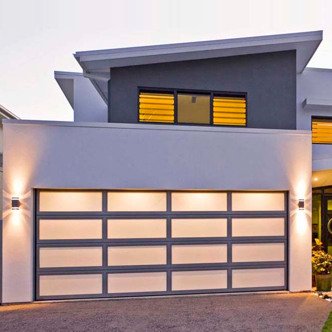 Custom size automatic full glazed panoramic overhead aluminium garage door