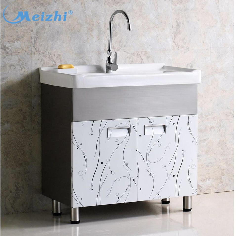 China stainless steel floor standing design bathroom vanity with laundry sink