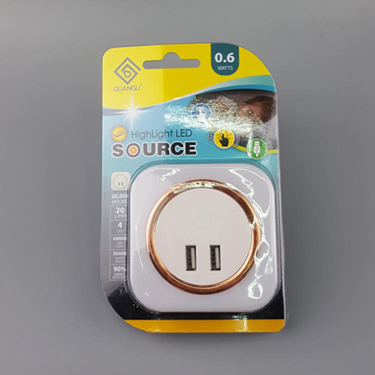 OEM A92 5V 2A Output Travel square Dimmer inductio LED Night Light dual USB Wall Plate for Fast Charger