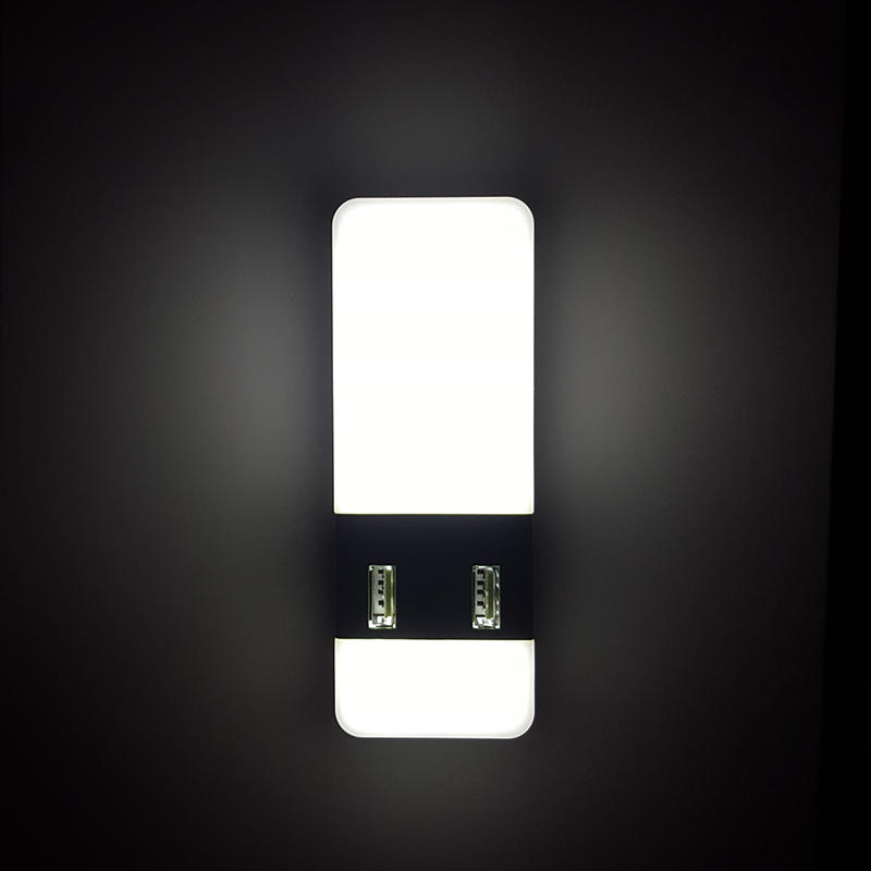 5V 2A Output Travel Dimmer inductio LED Night Light dual USB Wall Plate for Fast Charger