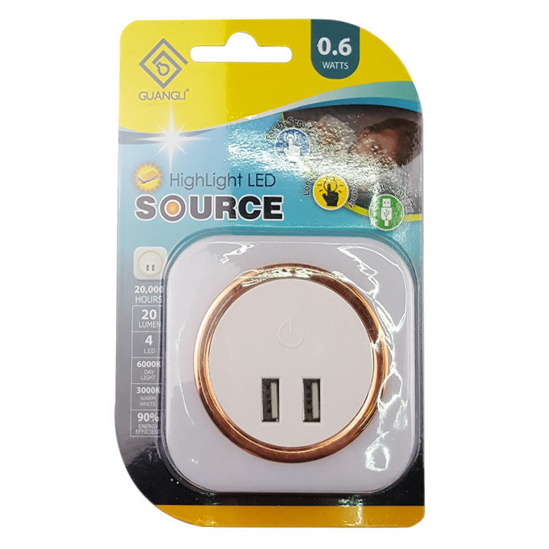 High quality touch sensitive led night light with dual USB for bedroom for fast charger