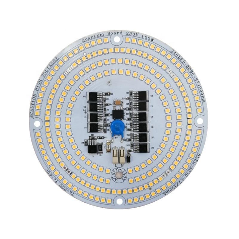 SCR Dimmable 100W 220V driverless AC LED Board V3 PCBA Samsung LM301B LED & 660nm DOB LED board for LED grow light