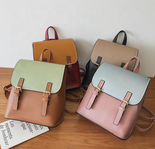 mochilas 2020 vintage custom logo school girls PU backpacks waterproof fashion Color matching women double shoulder backpack bags