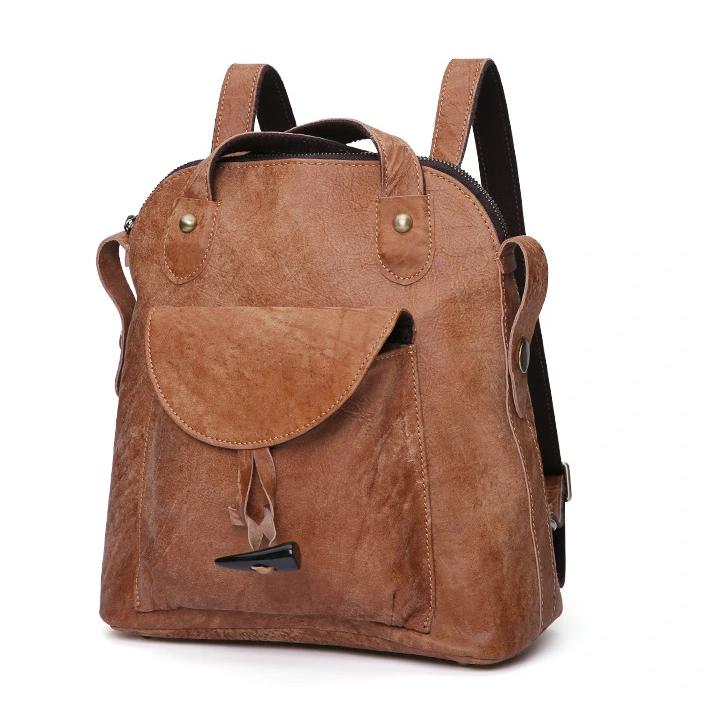 mochilas Vintage Elegant Leather Backpack Multifunctional Leather Bag for women