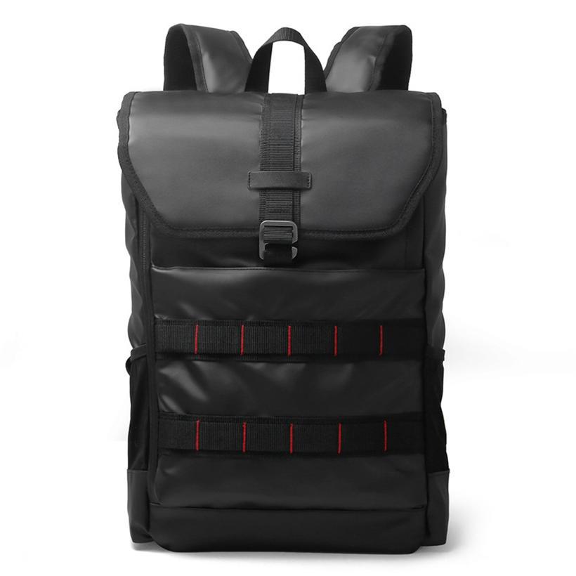 mochilas KS-002 PU Leather Laptop Backpack 15.6 Inch Laptop Bag Fashion Travel Rucksack Waterproof Oxford School Backpacks Black