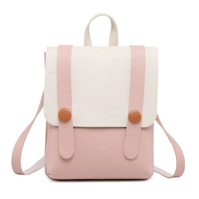 mochilas Unique Design Color Matching Custom Logo Pink girls backpacks PU leisure designer waterproof backpack for women British bags