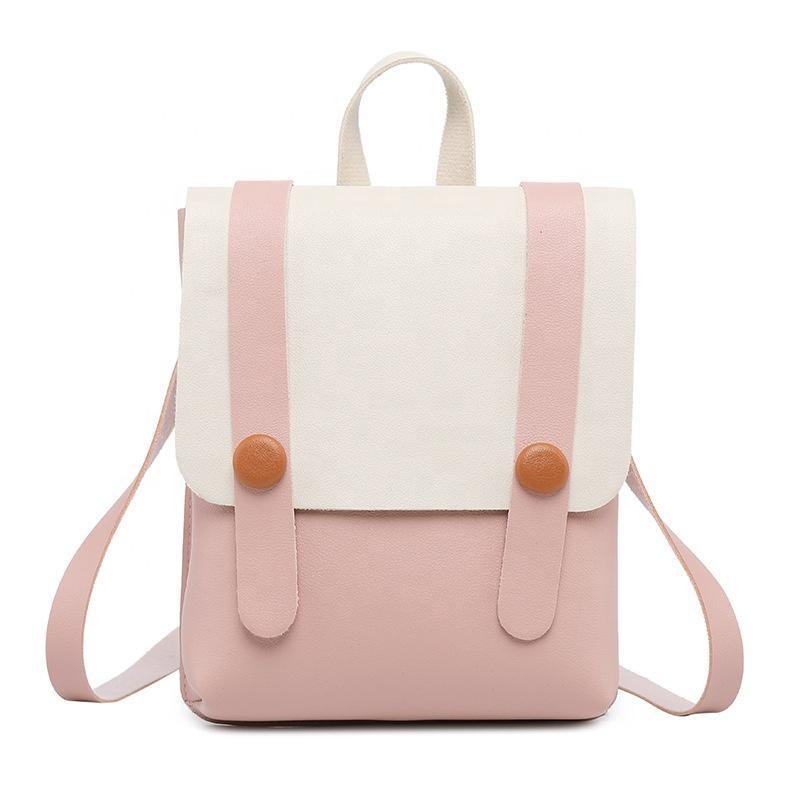 mochilas Unique Design Color Matching Custom Logo Pink girls backpacks PU leisure designer waterproof backpack for women British bags